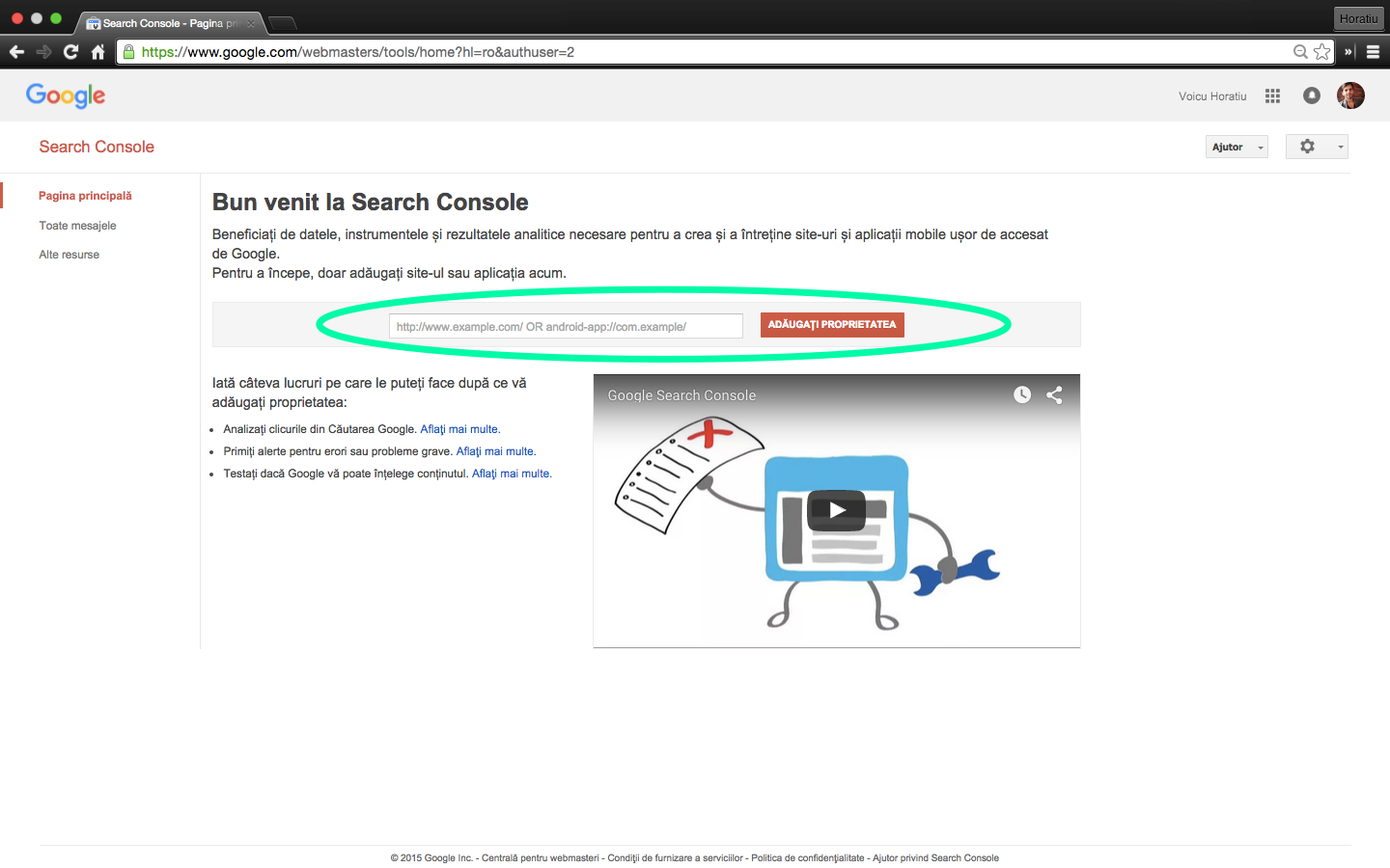 google search console - adaugare proprietate